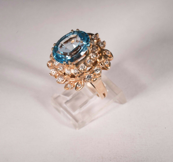 14K Yellow Gold Aquamarine and Diamond Cocktail Ring, size 5