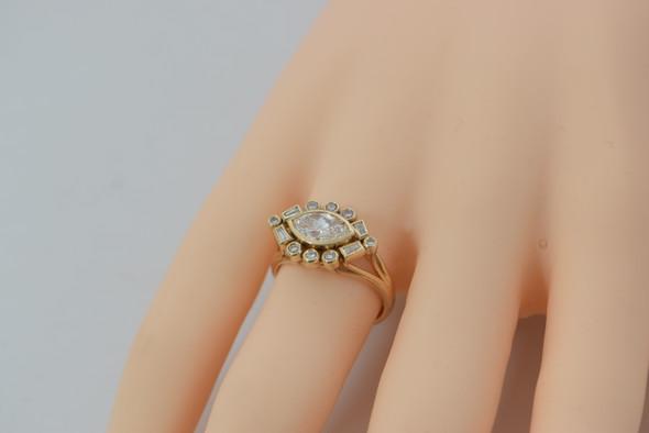 14K Yellow Gold Horizontal Marquise Diamond Ring 1.5 ct. tw., size 6