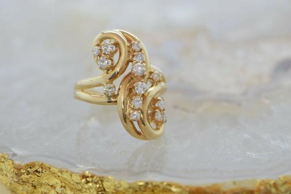 14K Yellow Gold Diamond Scroll Cluster Ring Size 8.75 Circa 1970