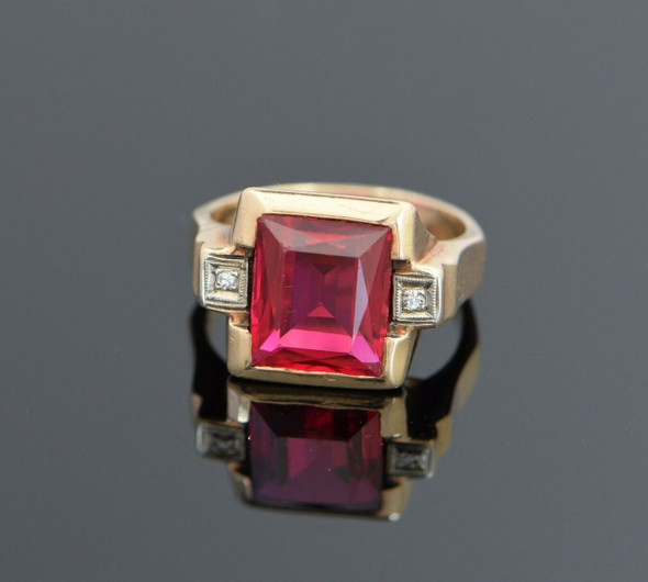 10K Yellow Gold Men's Spinel Ring Circa 1945's, Size 6.25
