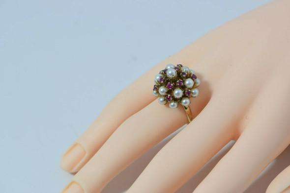 Vintage 14K Yellow Gold Pearl and Ruby Ring Size 5.5 Circa 1960