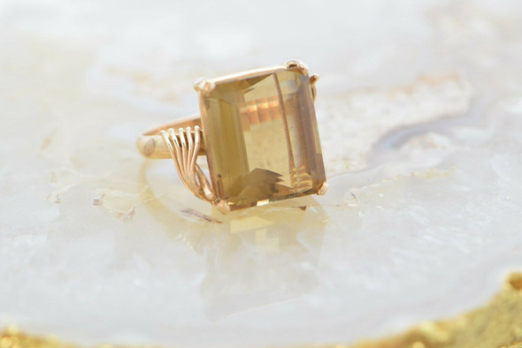 14K Rose/Yellow Gold Smoky Quartz Large Solitaire Ring Size 8.75 Circa 1970