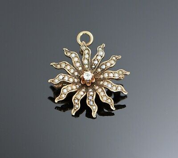 10K Yellow Gold Tested Pearl and Diamond Sun Burst Pin - Pendant, Circa 1900