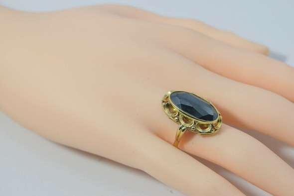 14K Yellow Gold Oval Faceted Hematite Ring Size 7 Circa 1970