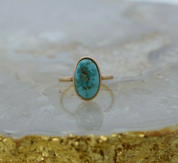 Vintage 10K YG Turquoise Cabochon Ring Size 5 Circa 1950