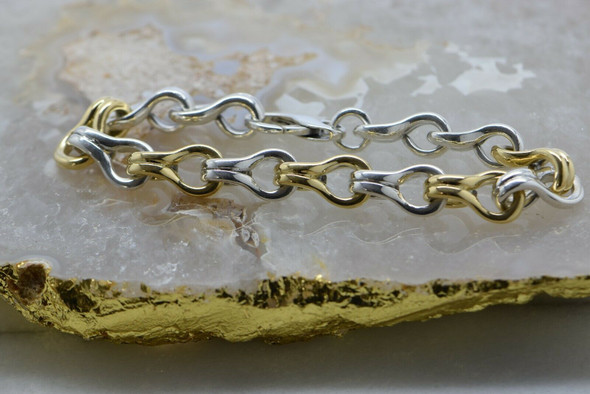 18K Yellow Gold and Sterling Silver Figure 8 Link Bracelet Circa 1980