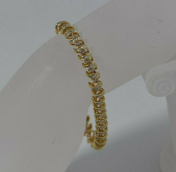 14K Yellow Gold Diamond Bracelet S Shaped Baguette Set Links Circa 1990