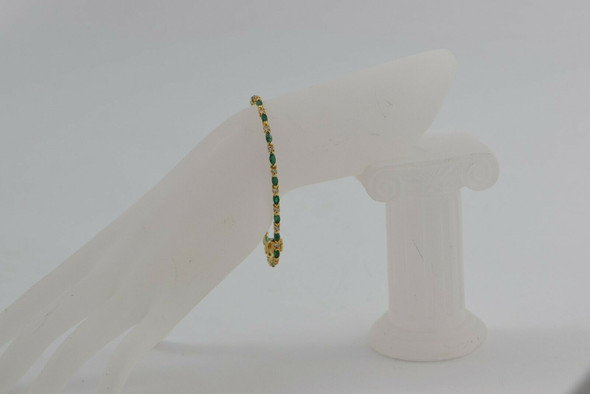 14K Yellow Gold Emerald Navette and Round Diamond Bracelet Circa 1970