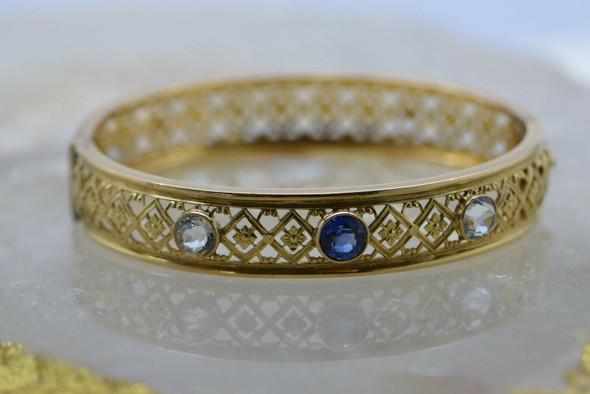 Vintage 14K Yellow Gold Hinged Bangle Bracelet Gem Set Circa 1950