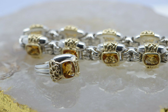 14K Yellow Gold Citrine & Sterling Silver Bracelet with Matching Ring Circa 1960