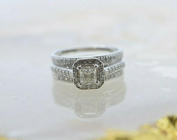14K White Gold Princess Diamond Ring & Guard Ring Sizes 7 and 7.5
