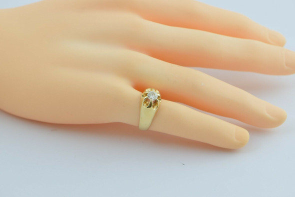 14K Yellow Gold 2/3 ct Diamond Ring Belcher Setting Size 8.75 Circa 1950