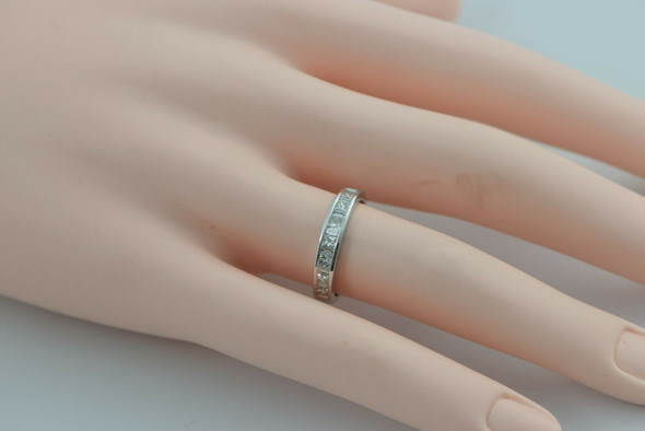 14K White Gold Diamond Band Size 5.75 Circa 1990
