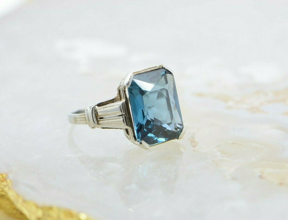 10K White Gold Art Deco Aqua/Blue Spinel Ring Size 7 Circa 1930