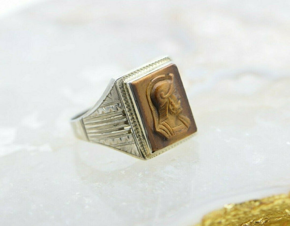 10K Men's White Gold Tiger Eye Roman Soldier Ring Size 13 Circa 1930