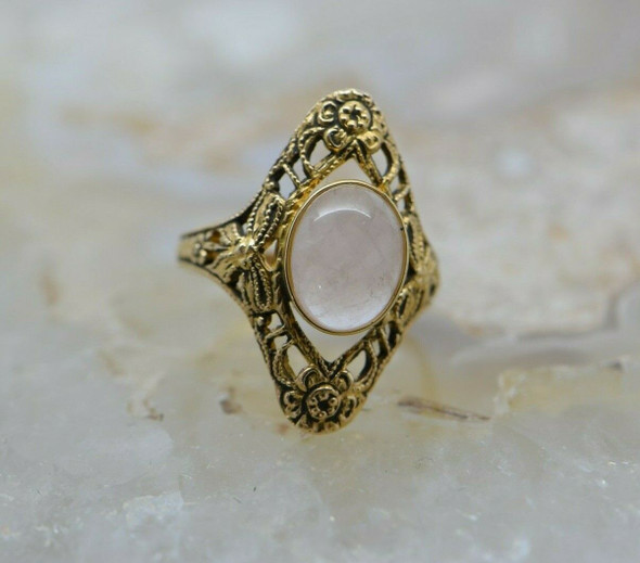 10K Yellow Gold Filigree Rose Quartz Ring Size 6 Circa 1970