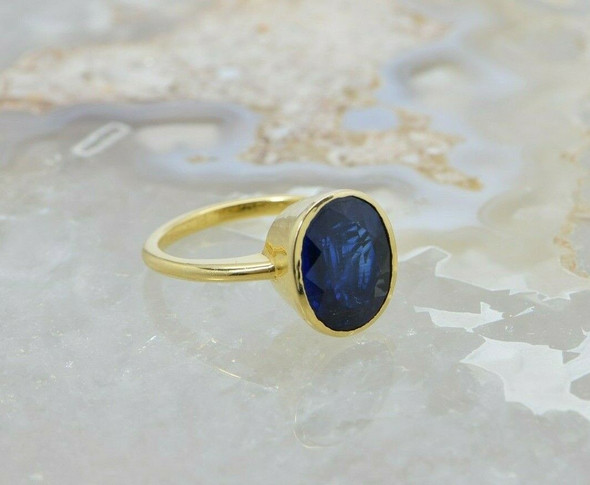 18K Yellow Gold Van Cleef and Arpels Kyanite Ring Size 6.75 Circa 1990
