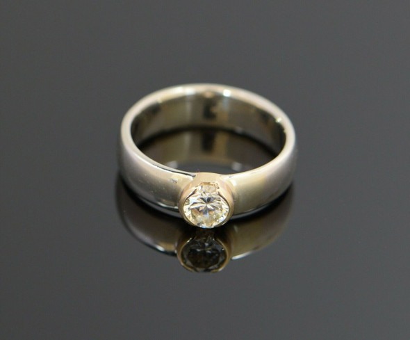 14K White Gold Modernist Band with .60 ct. Diamond Center, Size 5.25