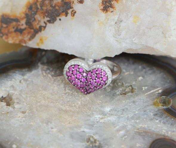14K White Gold Pink Tourmaline and Diamond Heart Shaped, Size 7.25