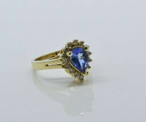 14K Yellow Gold Tanzanite Pear and Round Diamond Halo Ring Size 5.5 Circa 1990