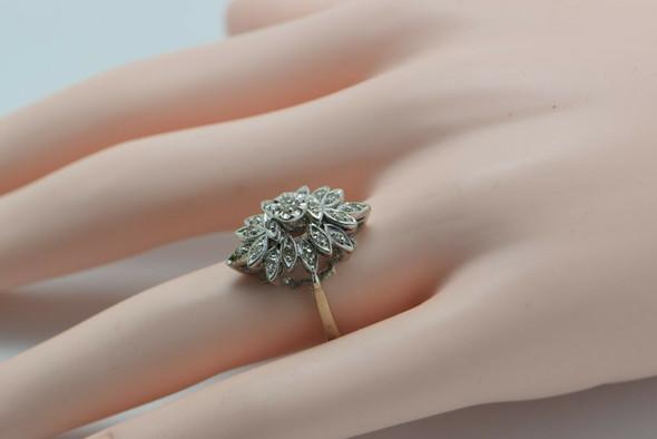 Vintage 14K White Gold Diamond Cluster Ring Signed MAICO Size 9 Circa 1960