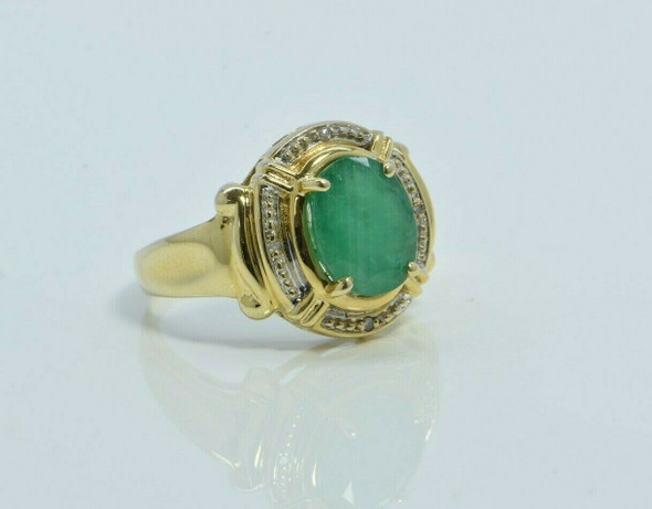 14K Yellow Gold Emerald and Diamond Ring Size 7 Circa 1990