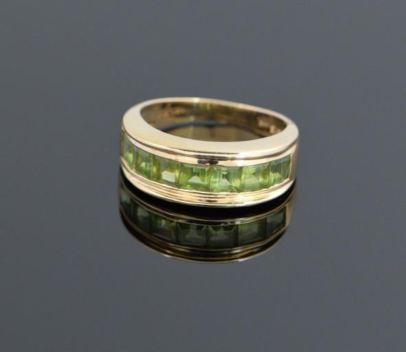 14K Yellow Gold Channel Set Peridot Ring Circa 1990, Size 9.75