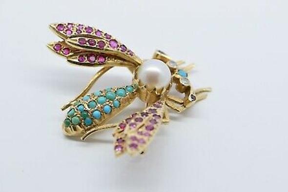 14K Yellow Gold Bee Pin with Pearl Turquoise Ruby & Diamonds Circa 1960
