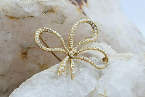 Super 14K Yellow Gold Seed Pearl Bow Pin Pendant Circa 1920