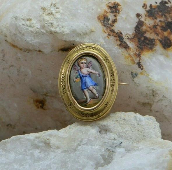 14K Yellow Gold Angel Enamelled Pin European Circa 1890