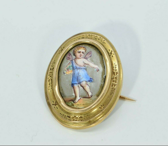 14K Yellow Gold Angel Enamelled Pin European Circa 1890