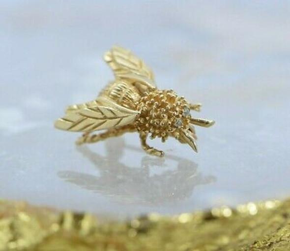 14K Yellow Gold Diamond Eye Bee Pin Circa 1970