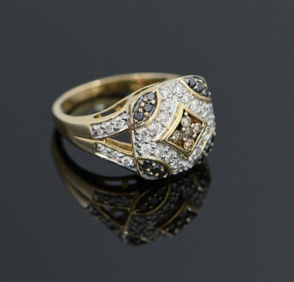 14K Yellow Gold Multi Colored Ring w/Chocolate, White & Black Diamonds Size 7