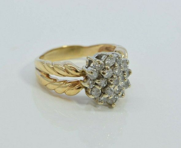 14K Yellow Gold Diamond Roundel Ring Size 7.25