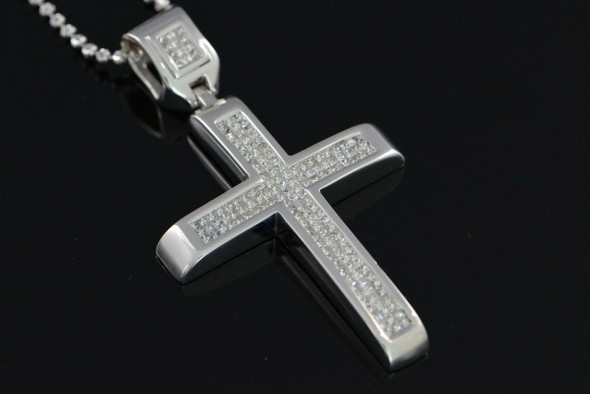 "14K White Gold Cross with Princess Cut Diamonds on 22"" White Gold Bead Chain"