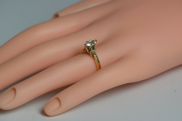 14K YG Diamond Engagement Ring with Marquise Central Stone 1.1ct tw est Size 6.5