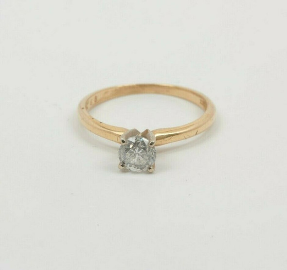 14K Yellow Gold .68 ct Diamond Solitaire H I1 Circa 1970 Ring Size 8