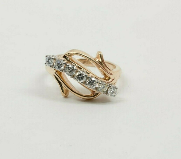 14K Yellow Gold Diamond Ring G VS 2/3 ct tw est Size 5.5 Circa 1950
