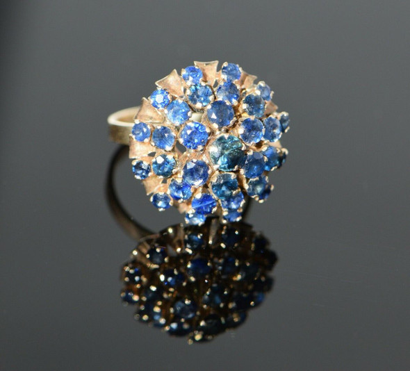18K Yellow Gold Sapphire Dome Cocktail Ring Circa 1950, Size 7
