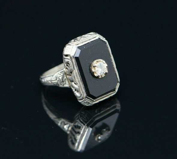 Vintage 14K WG Filigree Black Onyx Ring 1/4 ct Diamond Center Circa 1930 Size 4