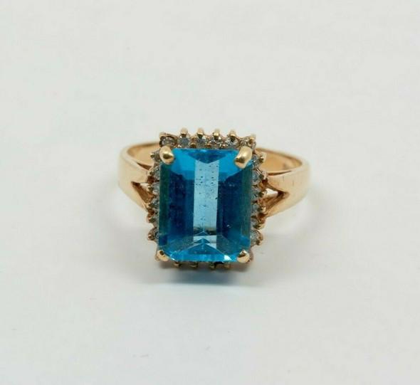 14K Yellow Gold Blue Topaz Diamond Halo Ring Size 7.75 Circa 1960's