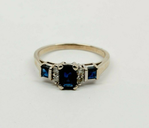 14K WG Sapphire and Diamond Ring 1 1/2ct Gem Weight Total Circa 1980 Size 10.75