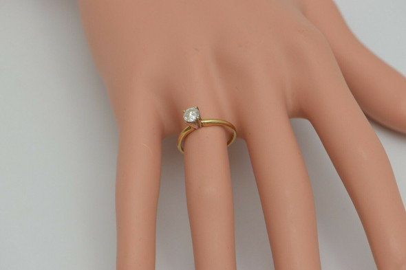 14K Yellow Gold 1/2 ct Diamond Solitaire Engagement Ring Size 5
