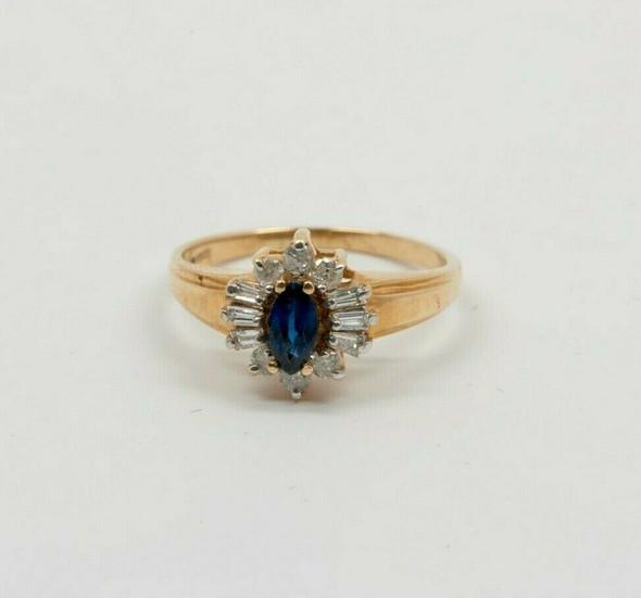 14K YG 1 ct tw Sapphire and Diamond Halo Ring Circa 1980 Size 6