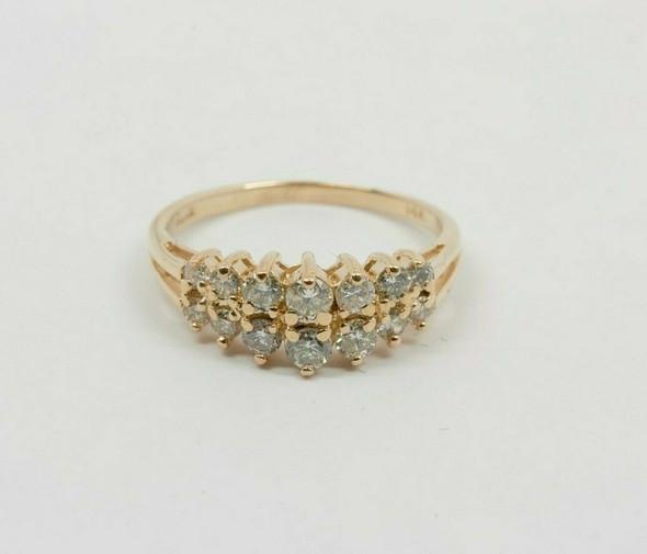 14K YG 1 ct tw. Diamond Ring with Double Split Shank Circa 1990 Size 8.5