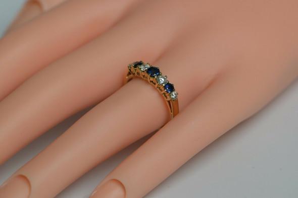 14K Yellow Gold 1 ct tw. Sapphire & Diamond Band Circa 1980 Size 6.5