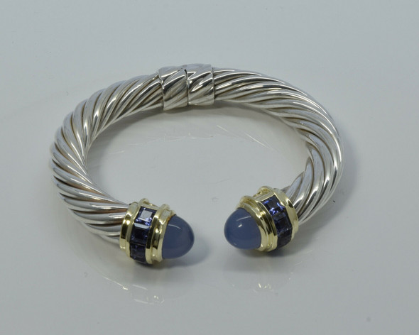 "David Yurman 14K and Sterling Silver Hinged 3/8"" wide cable bracelet"