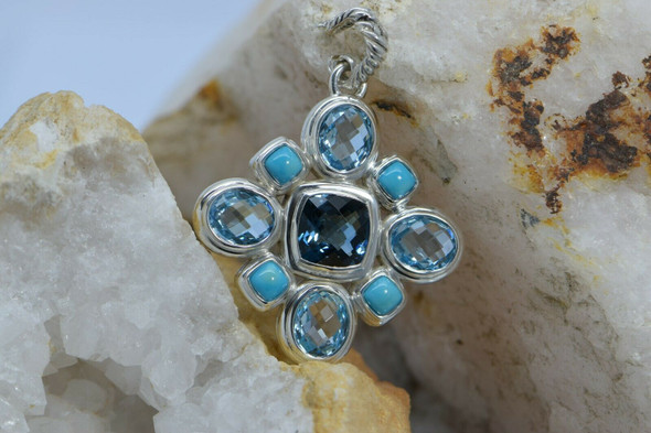 David Yurman 30+ ct tw. Sterling Silver Blue Topaz Pendant Cross