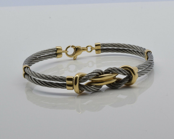 18K Yellow Gold and Stainless Steel Bangle Bracelet Circa 1990