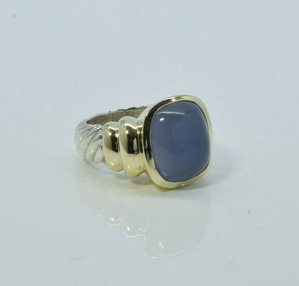 David Yurman 14K and Sterling Violet Chalcedony Ring Size 5.5